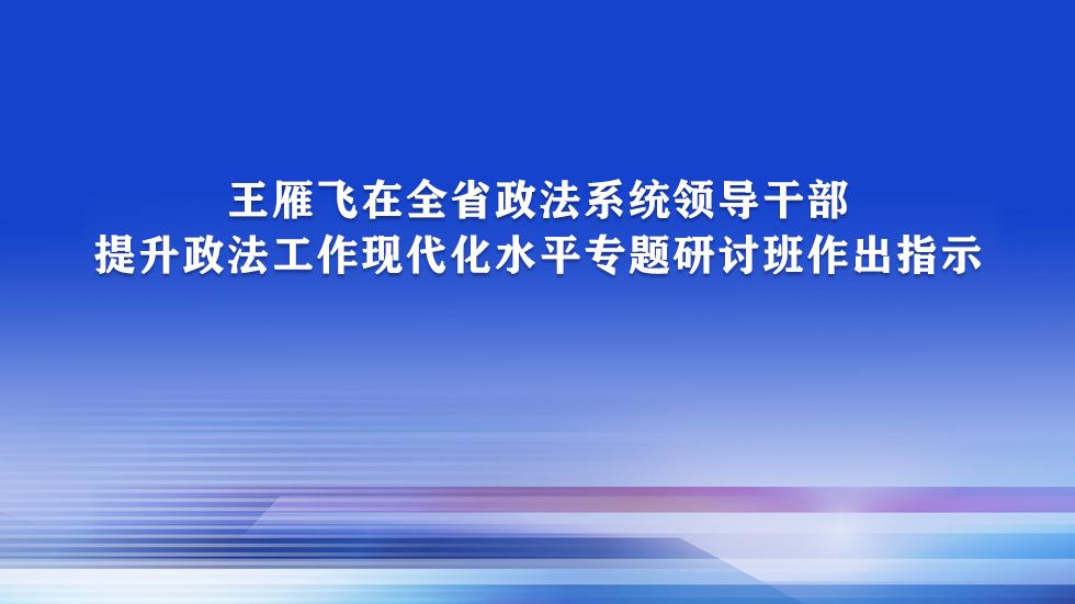 王雁飞在全省政法系统领导干部提升政法工作现代化水平专题研讨班作出指示